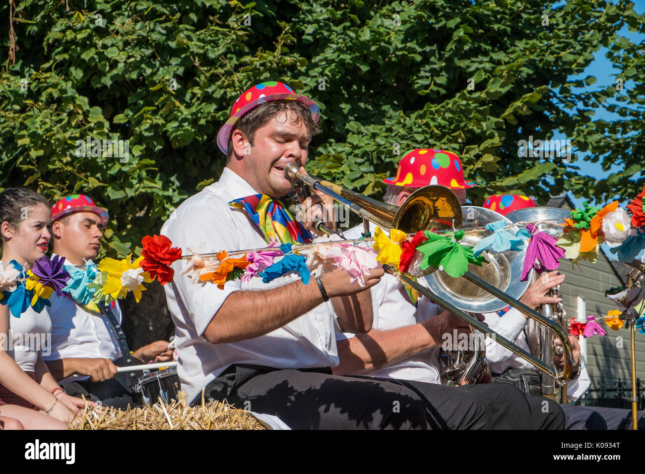 Street festival procession, France. - Stock Image