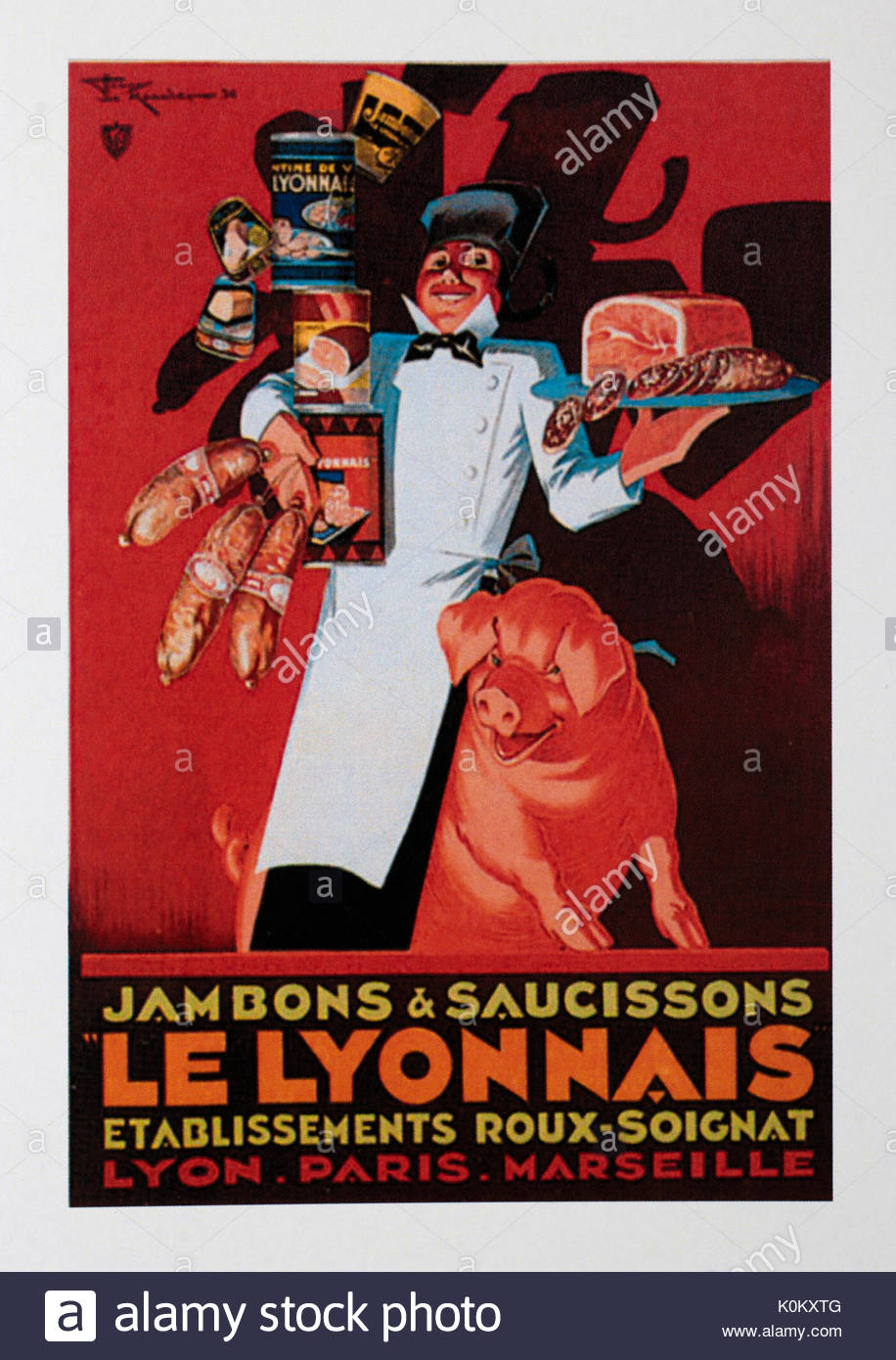 Vintage Food Advertisement Poster advertising Le lyonnais - Stock Image