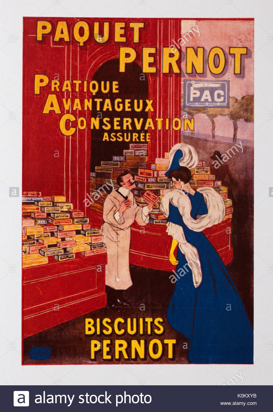 Vintage Food Advertisement Poster advertising French biscuits - Stock Image