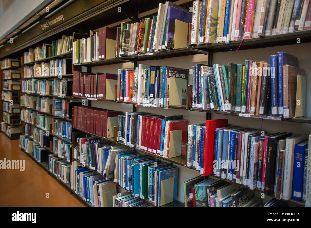 Melbourne, Australia - July 29, 2017:  Bookshelves filled with books in State Library of Victoria located in Melbourne - Stock Image
