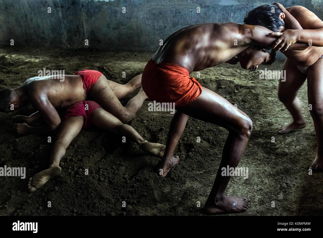 wrestling in akharas kolkata west bengal, India, Asia - Stock Image