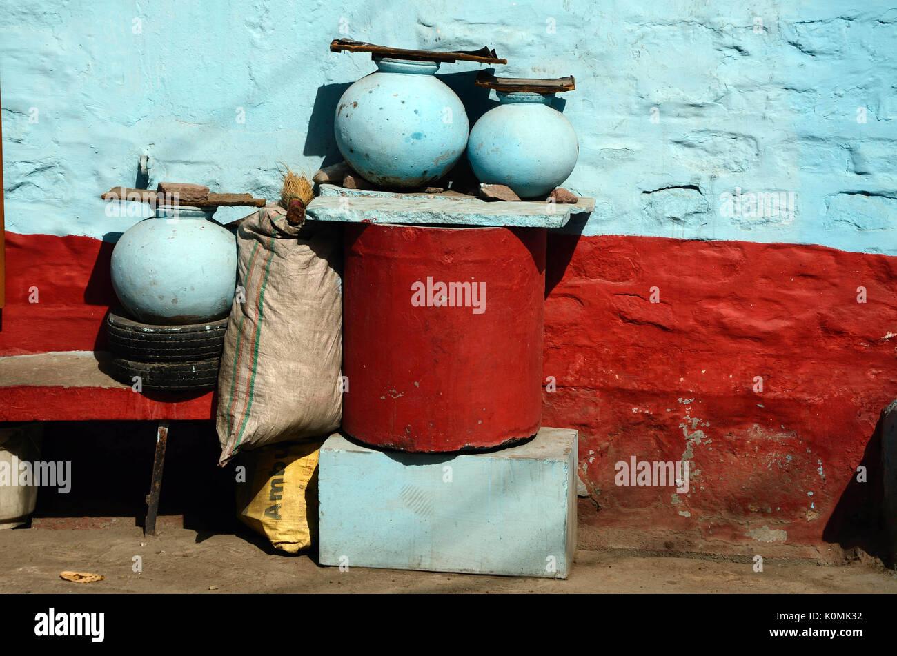 earthen pot Jodhpur rajasthan India Asia - Stock Image