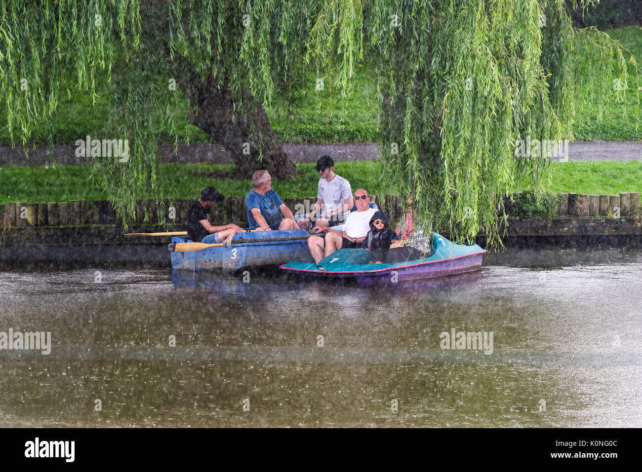 Holidaymakers on a boating lake sheltering under a willow tree from a torrential downpour. - Stock Image