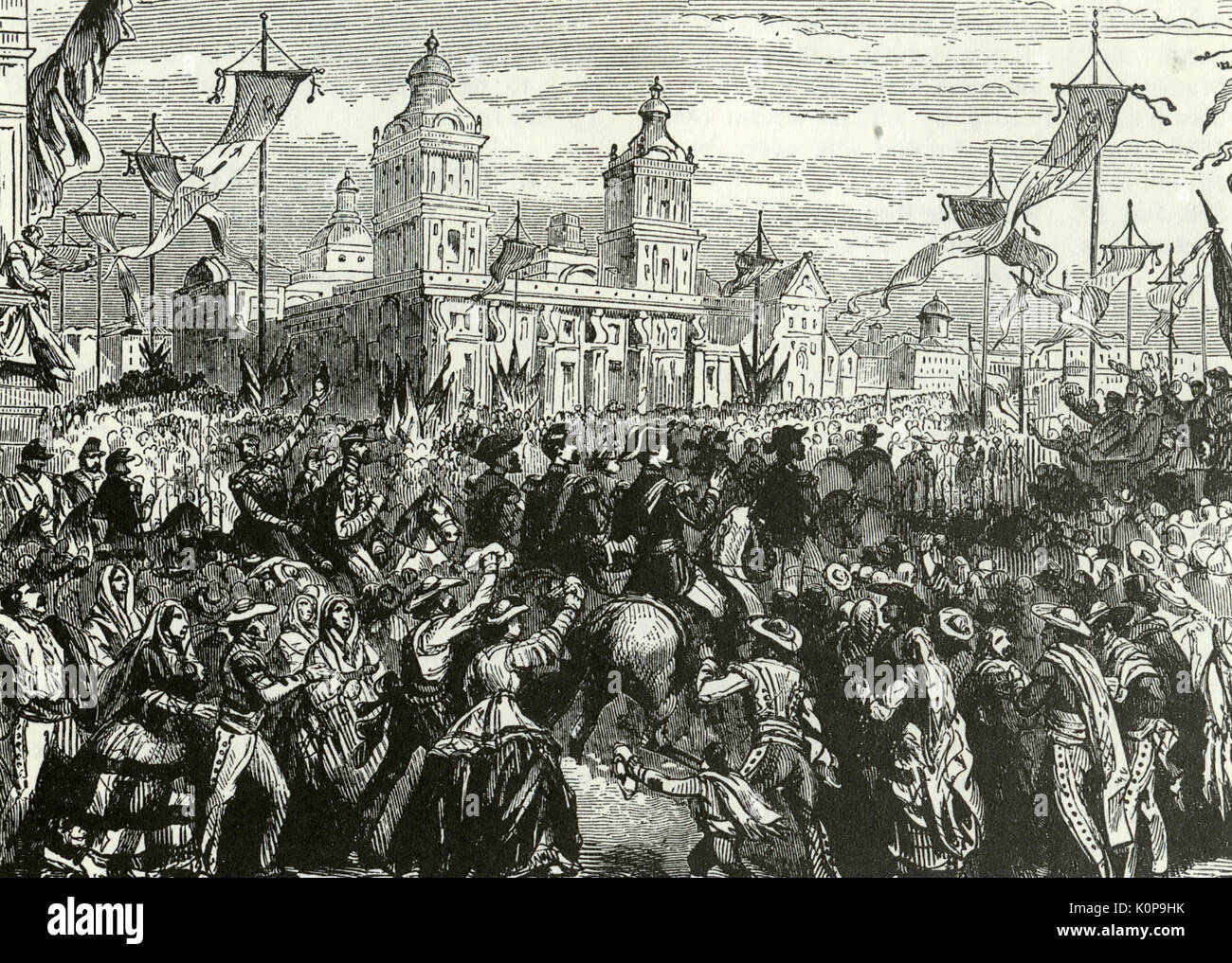 MEXICAN WAR OF THE FRENCH INTERVENTION. French soldiers enter Mexico City 1864 - Stock Image