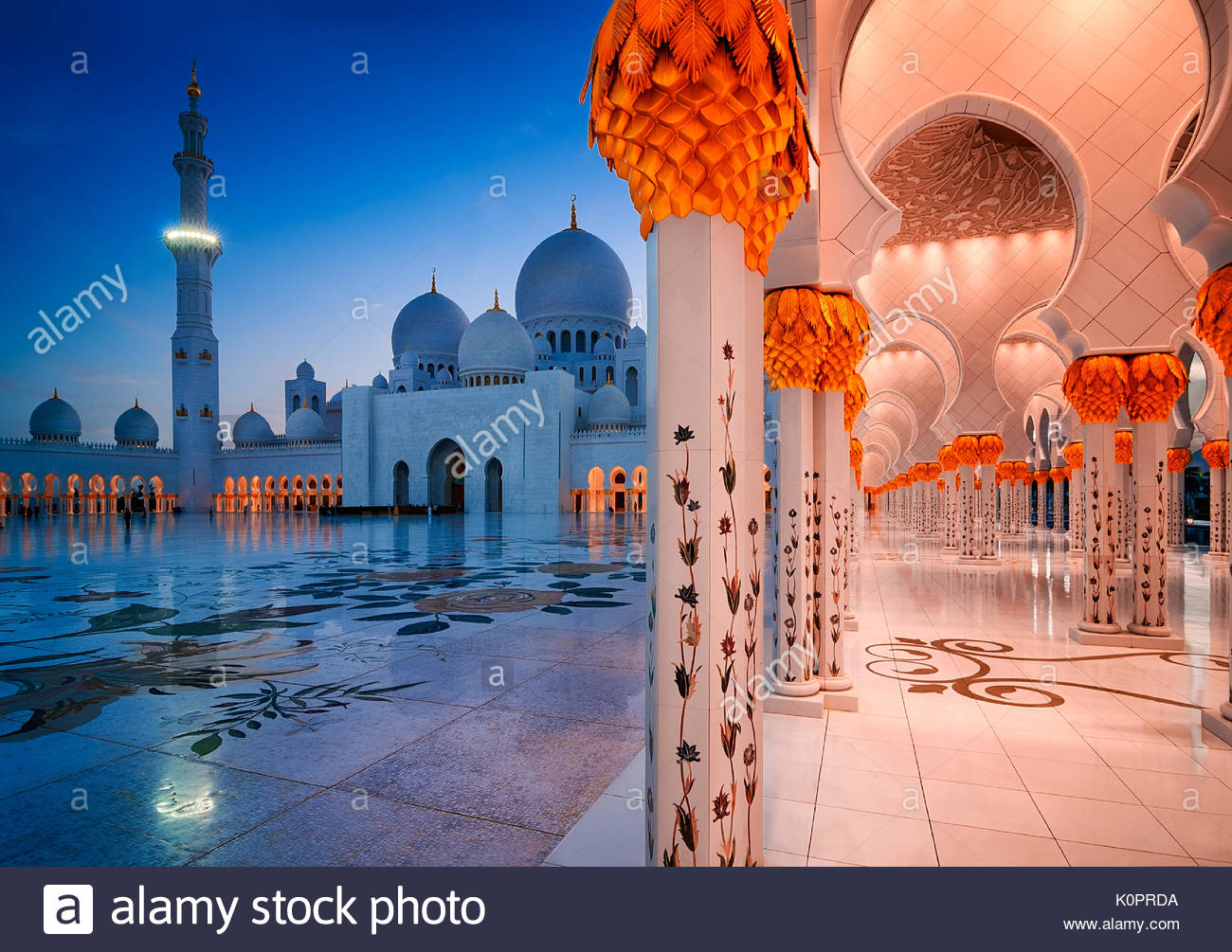 ABU DHABI, UAE - MAR 19, 2014: Night view at Sheikh Zayed Grand Mosque, Abu Dhabi, United Arab Emirates - Stock Image