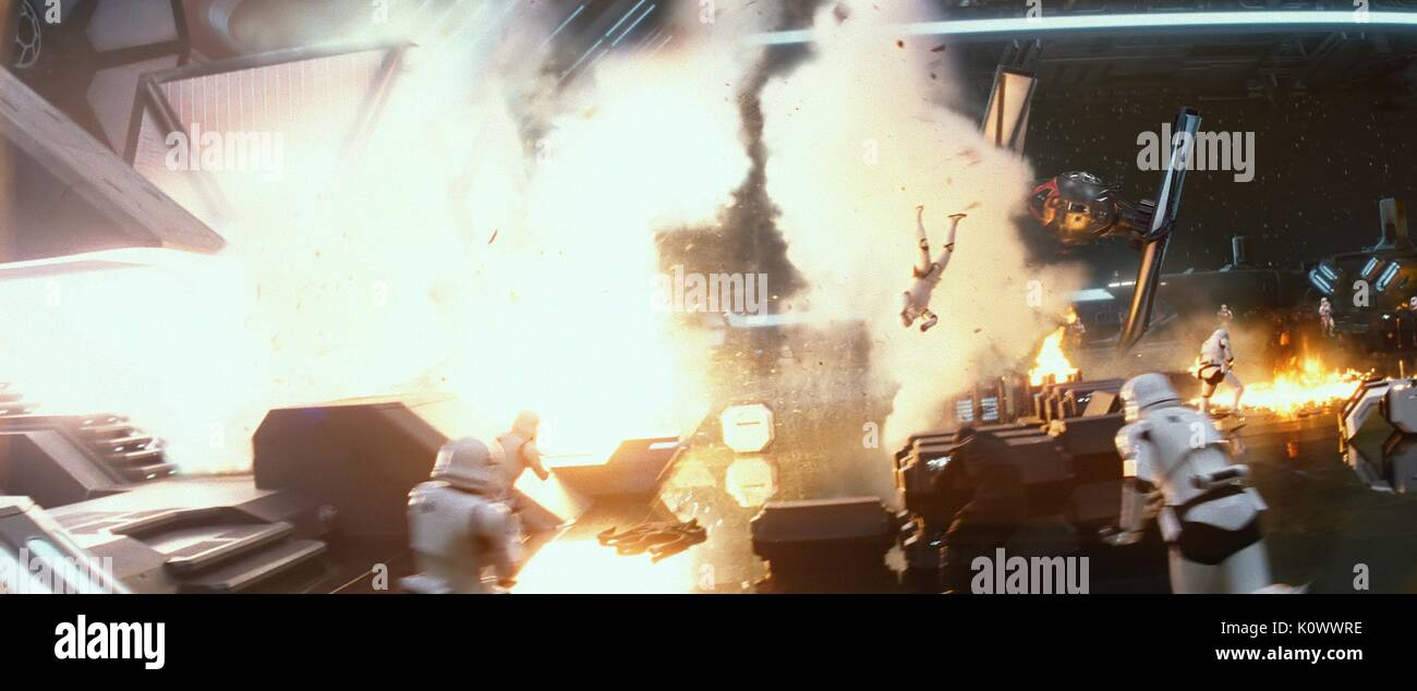 STORMTROOPERS EXPLOSION SCENE STAR WARS: EPISODE VII - THE FORCE AWAKENS (2015) - Stock Image