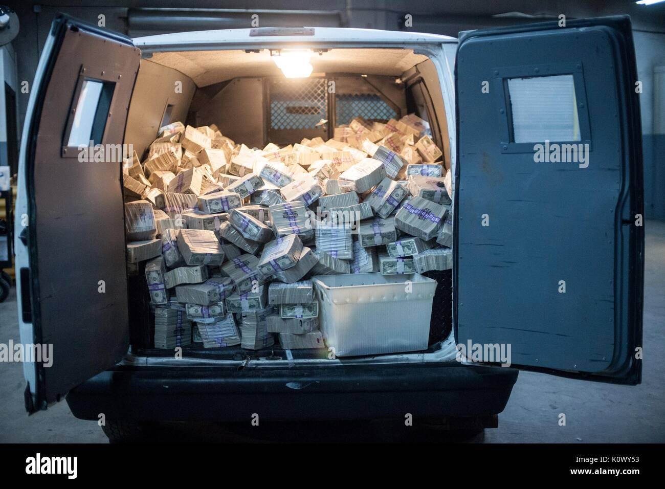 VAN OF BANK NOTES MASTERMINDS (2015) - Stock Image