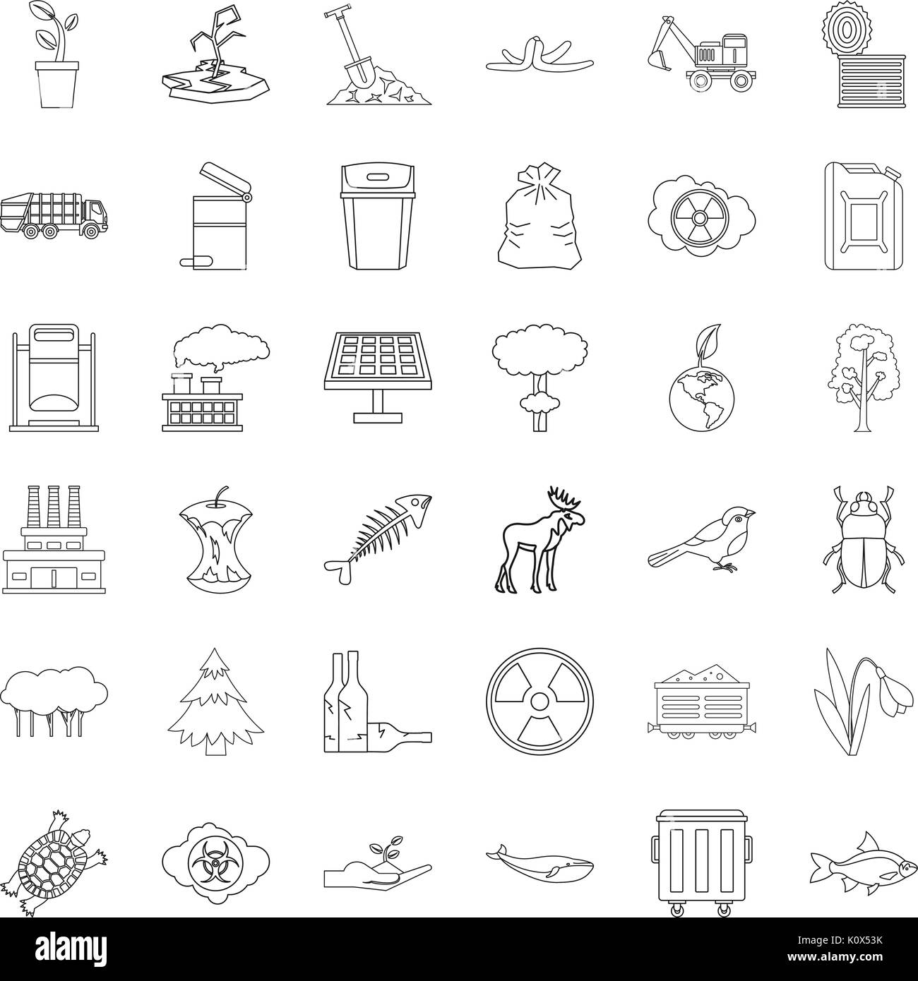 Catastrophe icons set, outline style - Stock Image