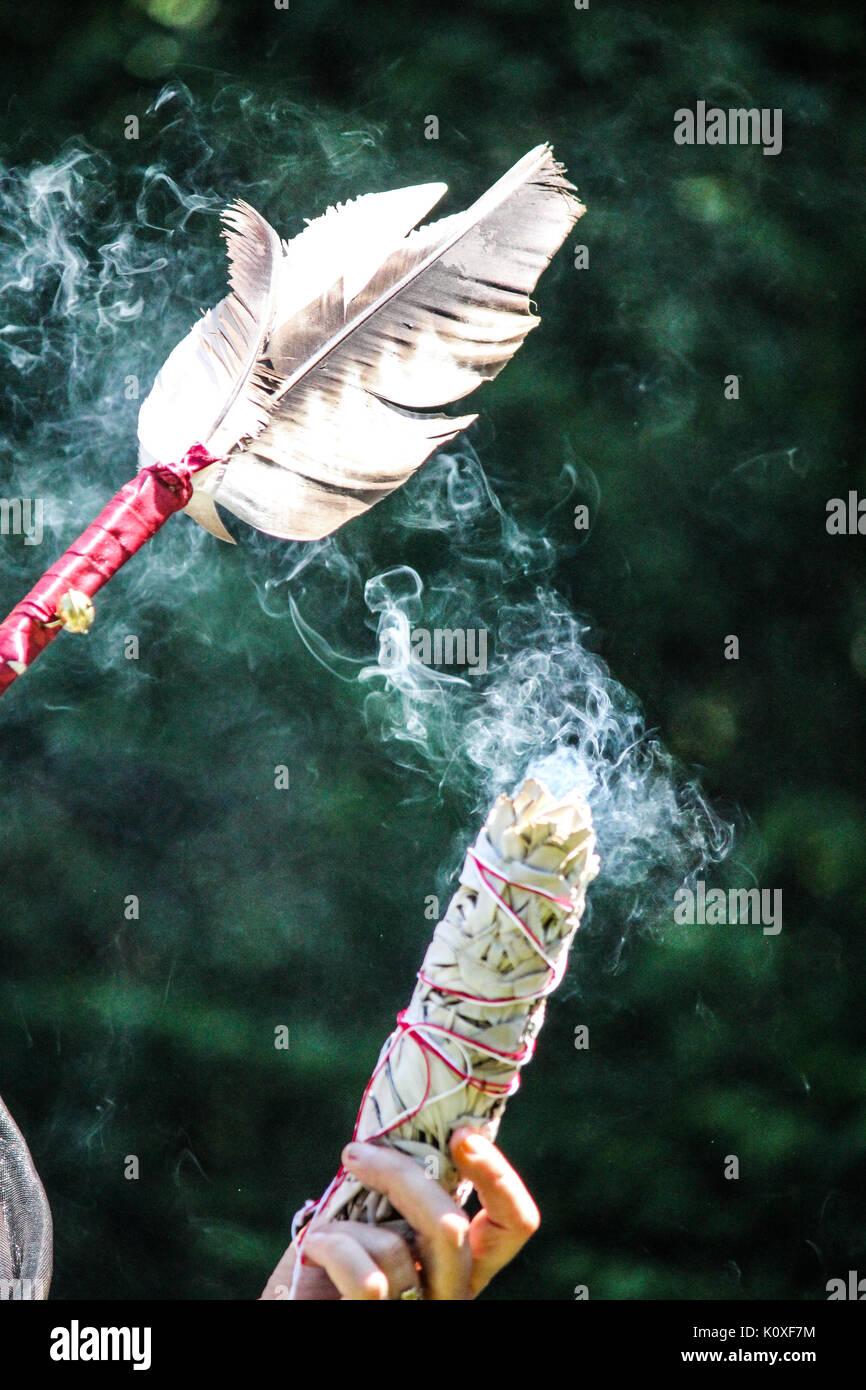Selfmade smudge stick - Stock Image