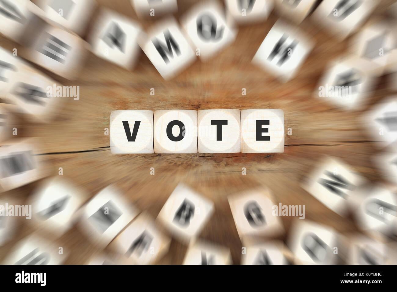 Vote election politics dice business concept idea - Stock Image