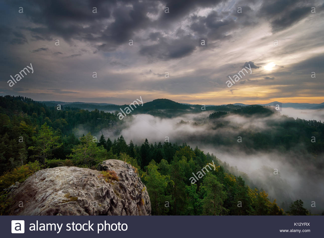 Sunrise in Bohemian Switzerland forest, Czech republic - Stock Image