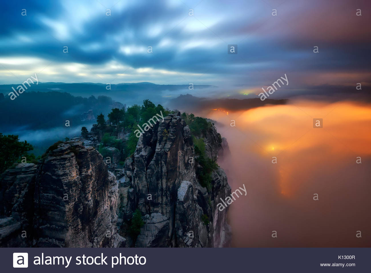 Amazing Bastei bridge night view, Saxon Switzerland, Germany - Stock Image