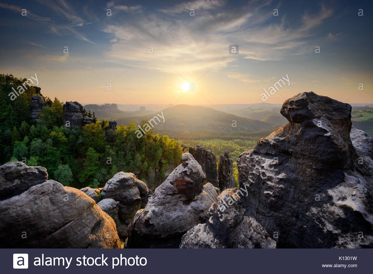 Amazing sunset view at Saxon Switzerland National park, Germany - Stock Image