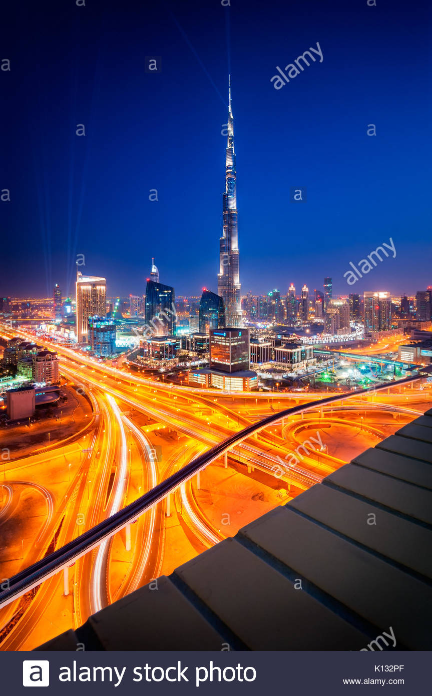 Amazing night dubai downtown skyline, Dubai, United Arab Emirates - Stock Image