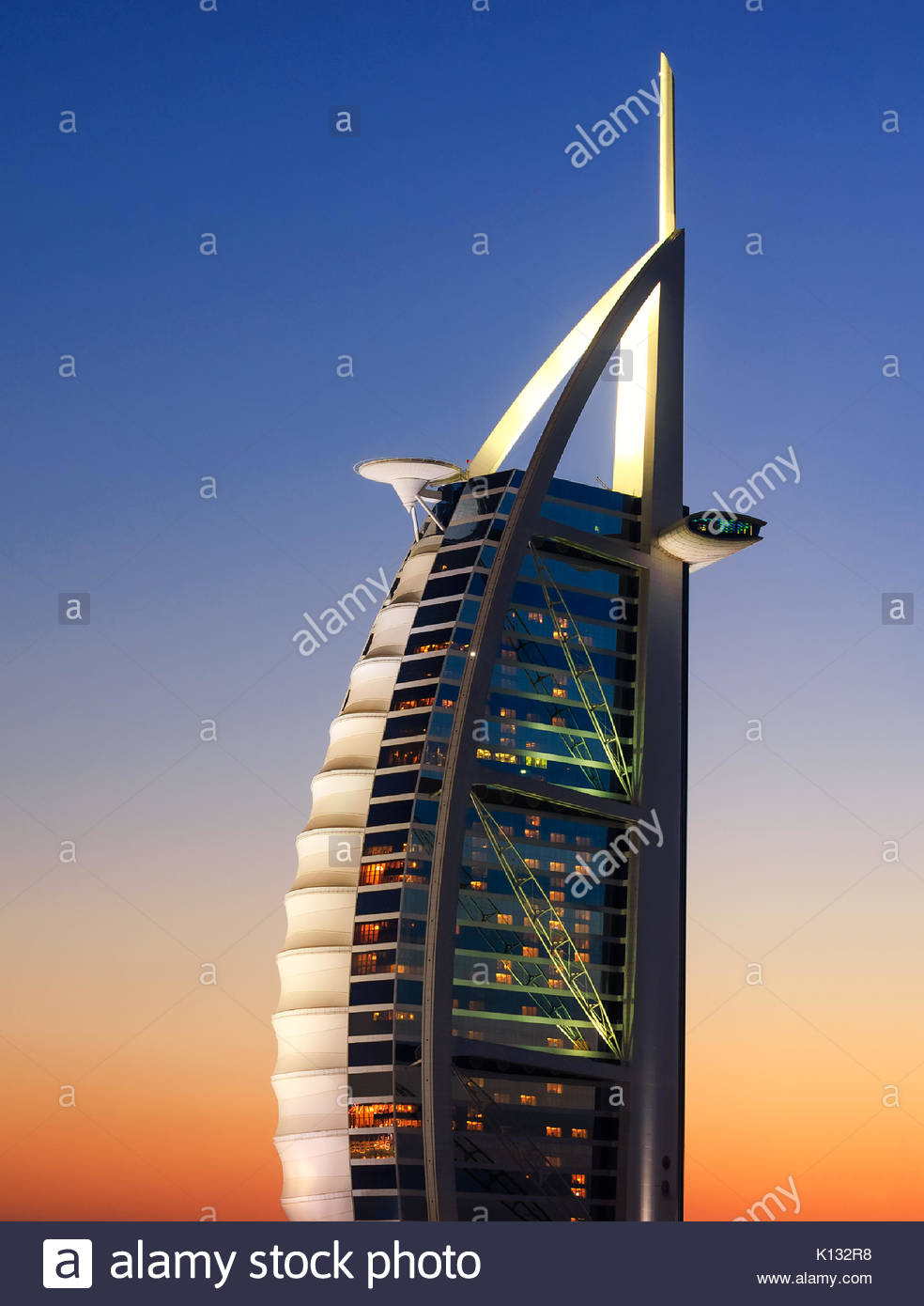 DUBAI, UAE - APR 14, 2013: Famous Jumeirah beach view with 7 star hotel Burj Al Arab, Dubai, United Arab Emirates - Stock Image