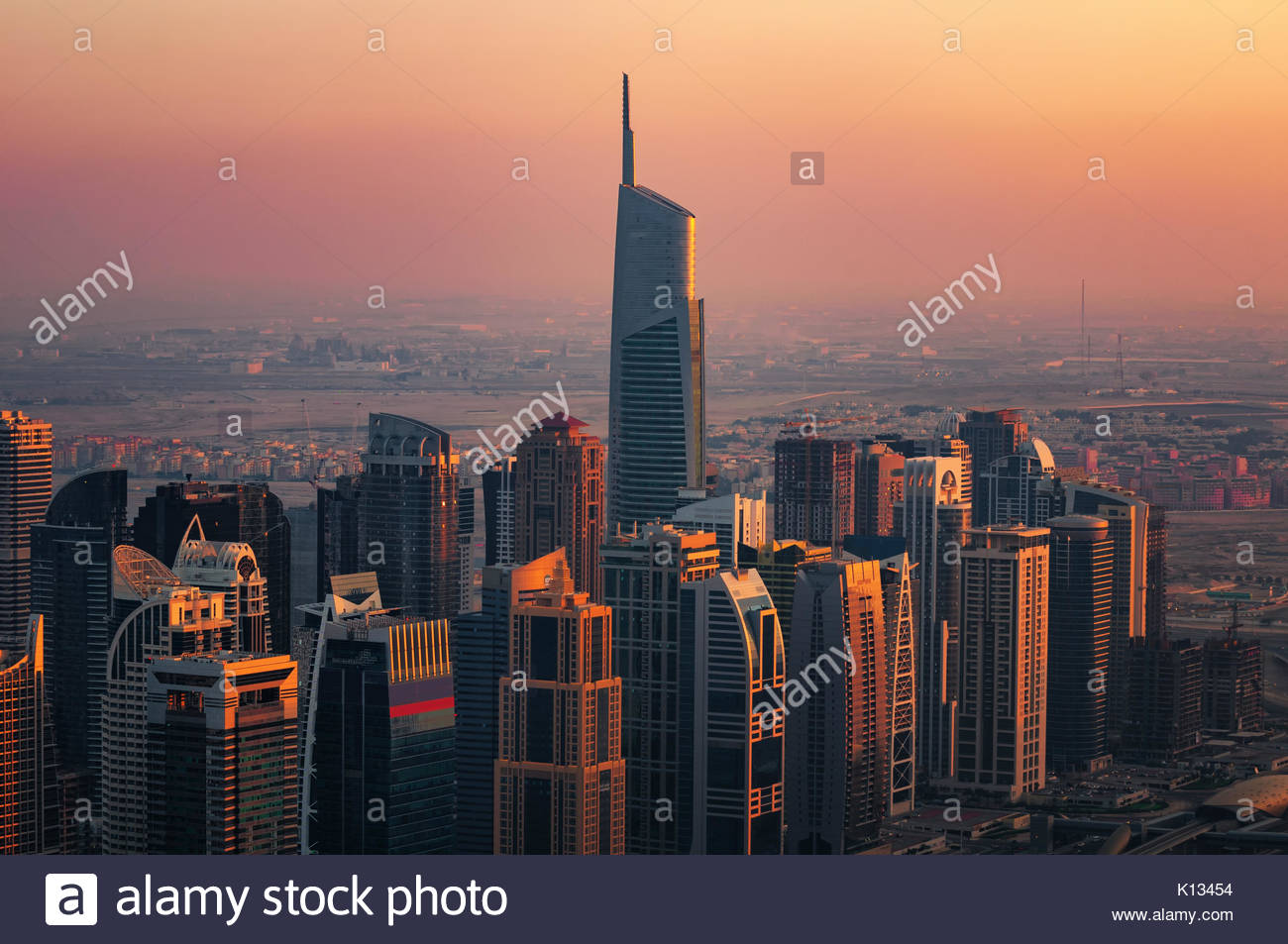 Majestic colorful dubai marina skyline during sunset. Multiple tallest skyscrapers of the world. Dubai marina, United - Stock Image