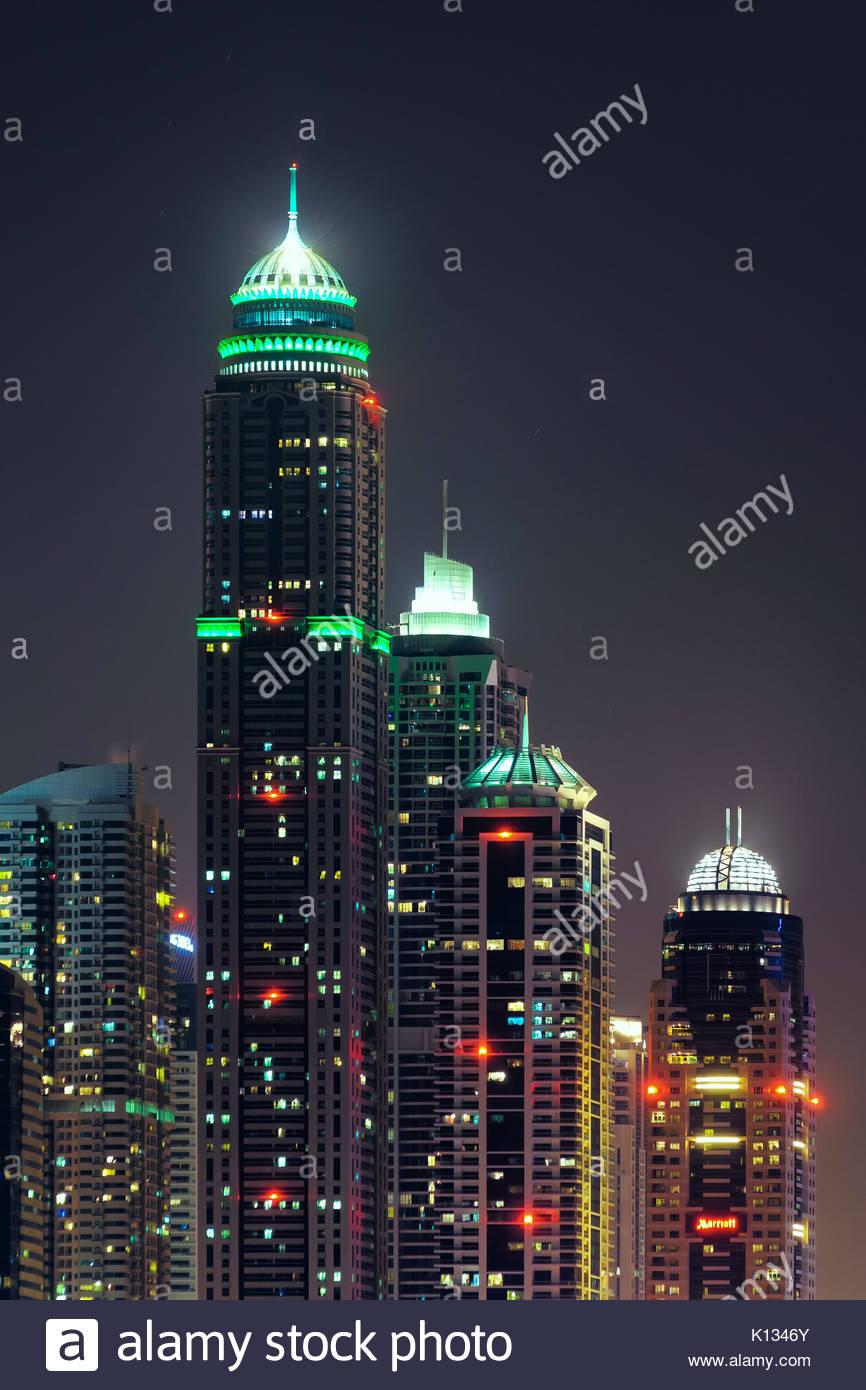 Majestic colorful dubai marina skyline during night. Multiple tallest skyscrapers of the world. Dubai marina, United - Stock Image