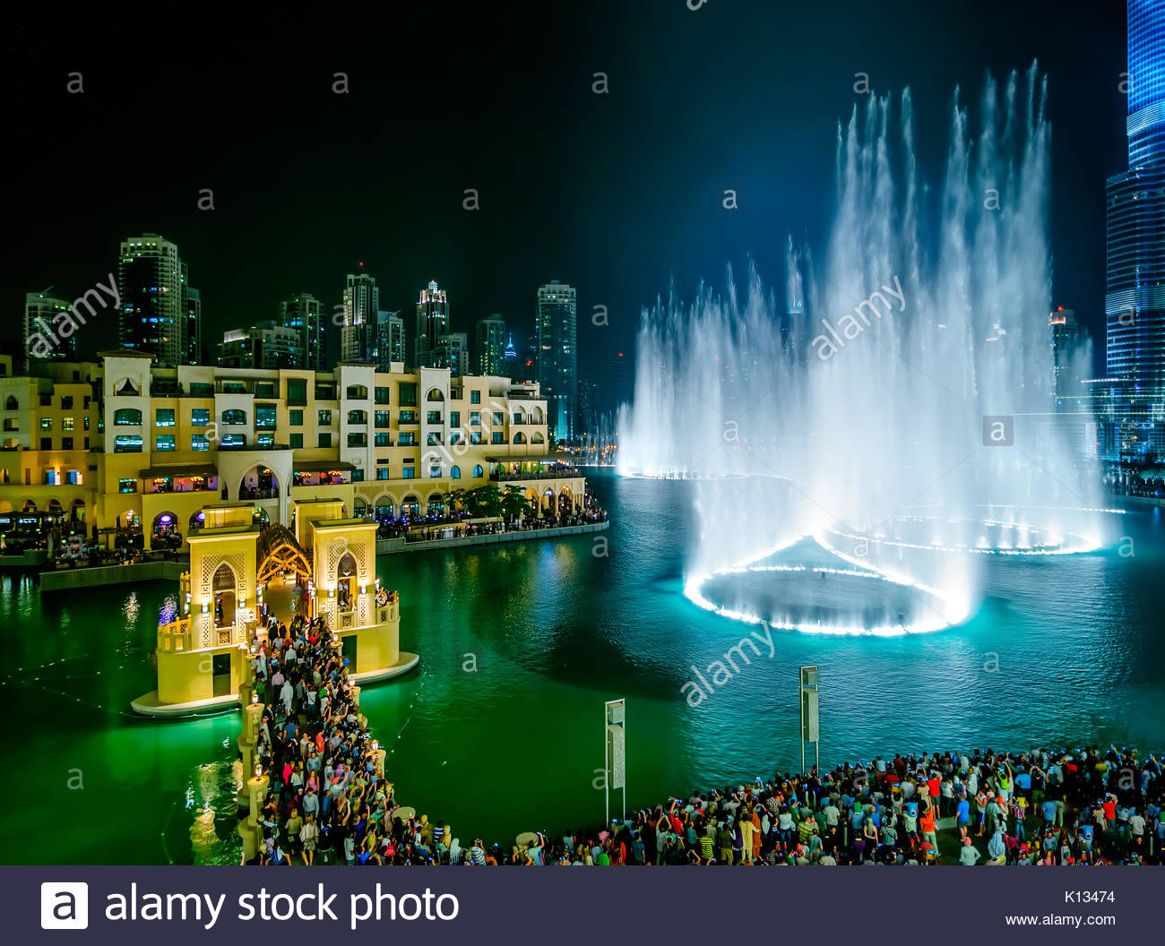 DUBAI, UAE - APR 14, 2013: Famous dubai fountain view near Burj Khalifa, Dubai, United Arab Emirates - Stock Image
