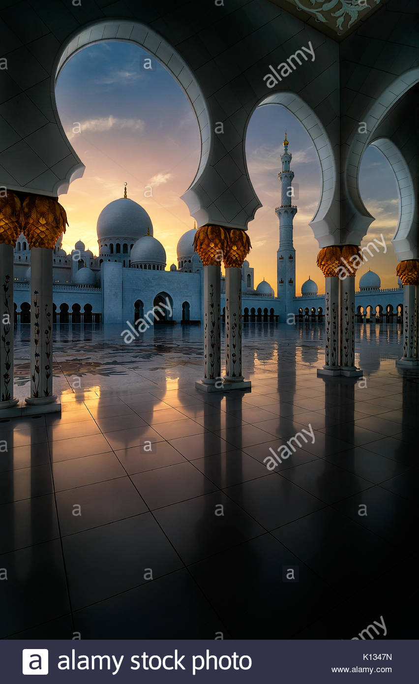 Amazing sunset view at Mosque, Abu Dhabi, United Arab Emirates - Stock Image