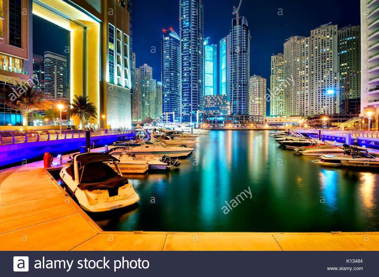 DUBAI, UAE - MARCH 22, 2014: Colorful night dubai marina, Dubai United Arab Emirates - Stock Image