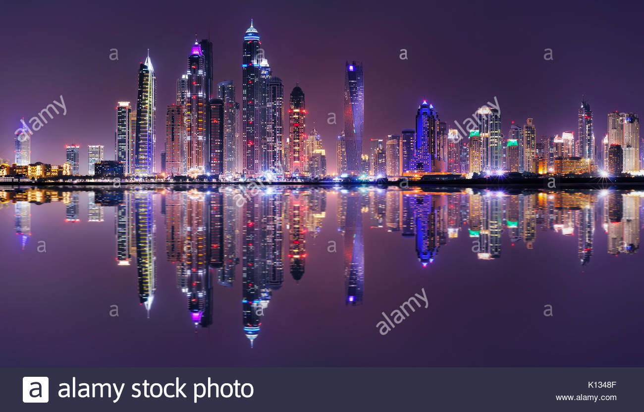Amazing night panorama of Dubai Marina. Multiple highest skyscrapers of the world with residential buildings, Dubai, - Stock Image