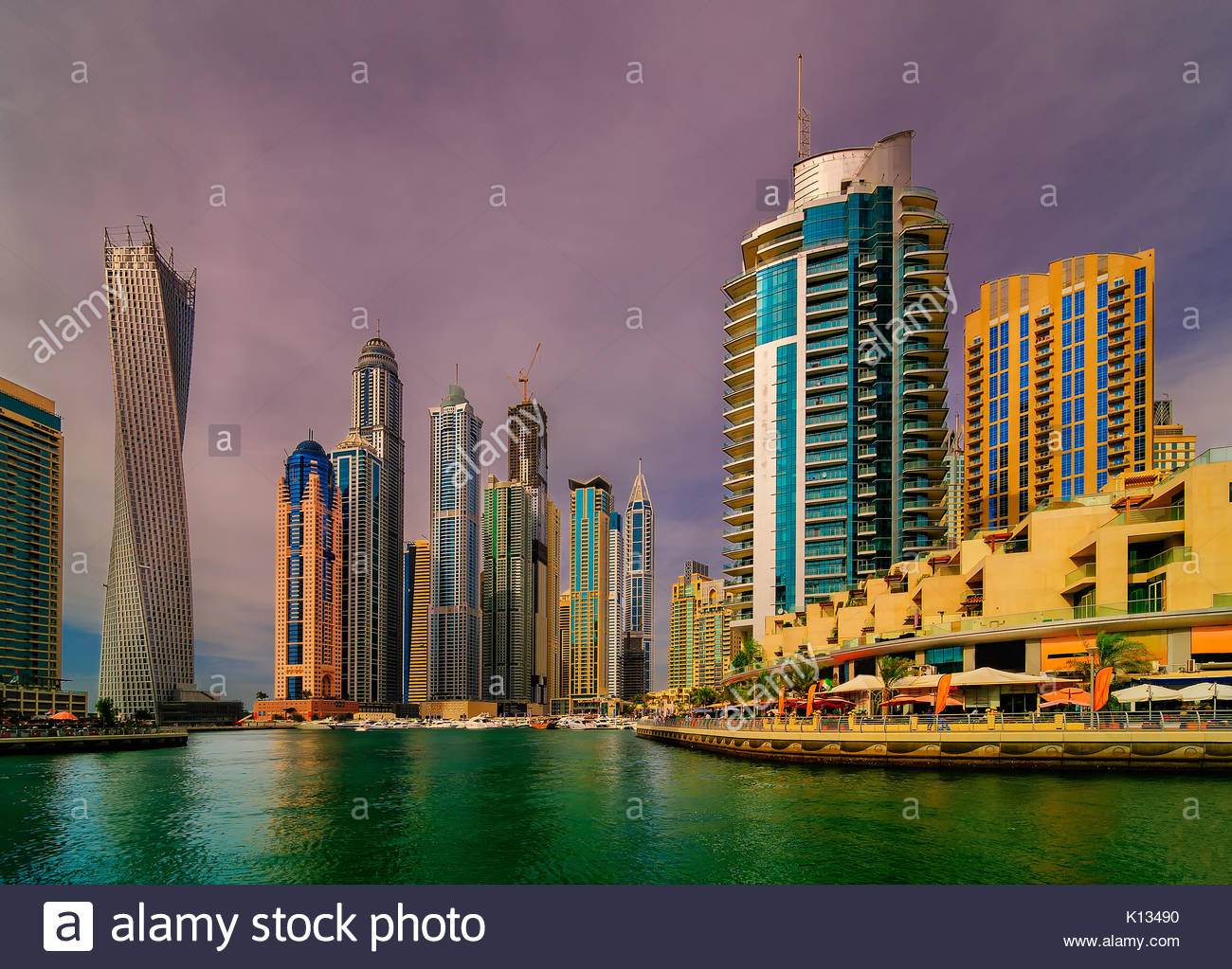 Amazing colorful dubai marina skyline, Dubai, United Arab Emirates. - Stock Image