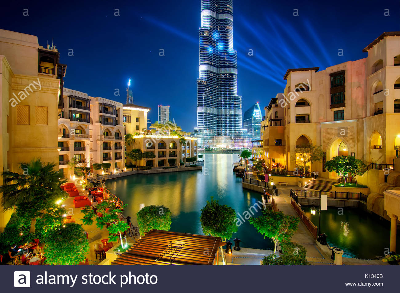 Beautiful famous downtown area in Dubai at night, Dubai, United Arab Emirates - Stock Image