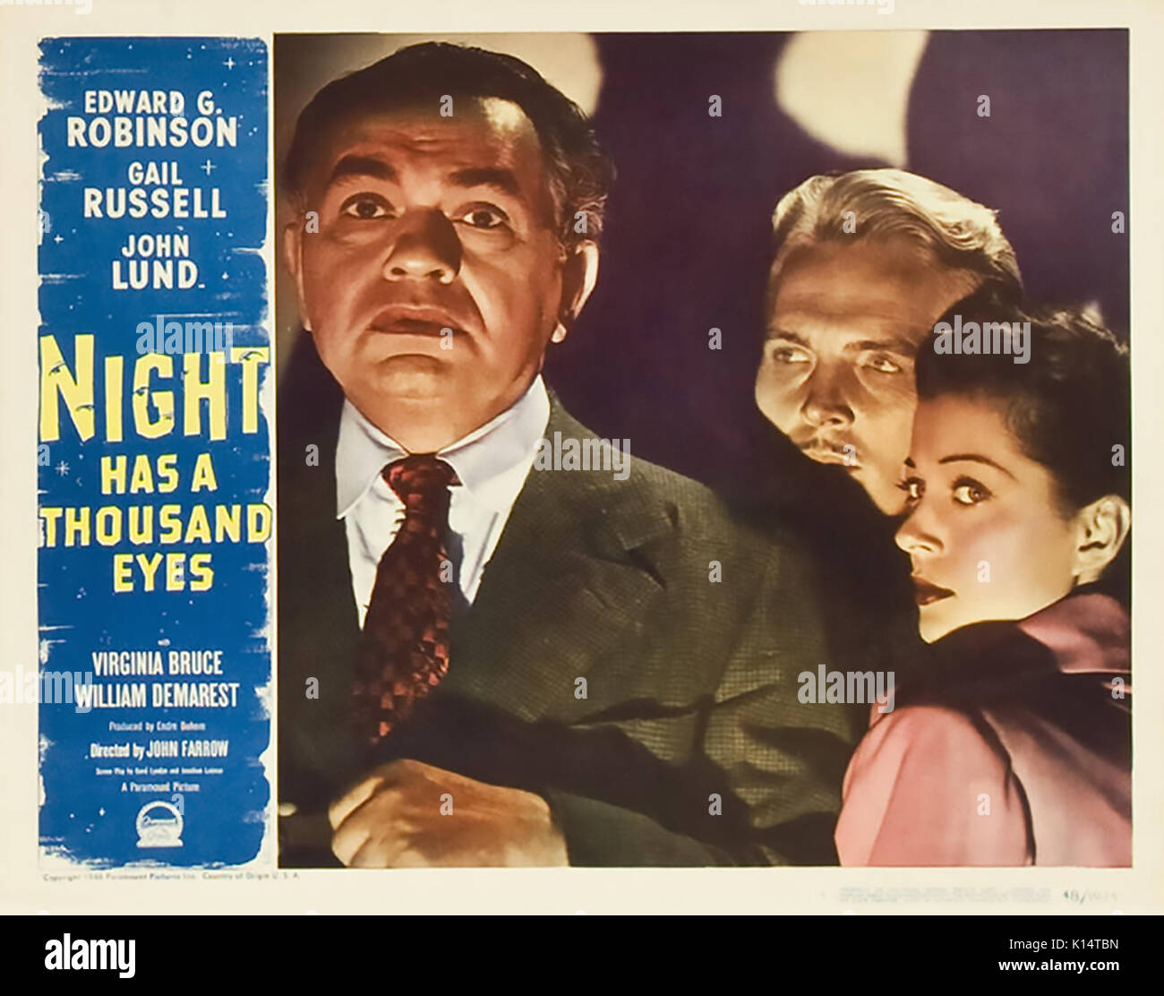 NIGHT HAS A THOUSAND EYES 1948 Paramount Pictures film noir with from left: Edward G. Robinson, John Lund, Gail - Stock Image