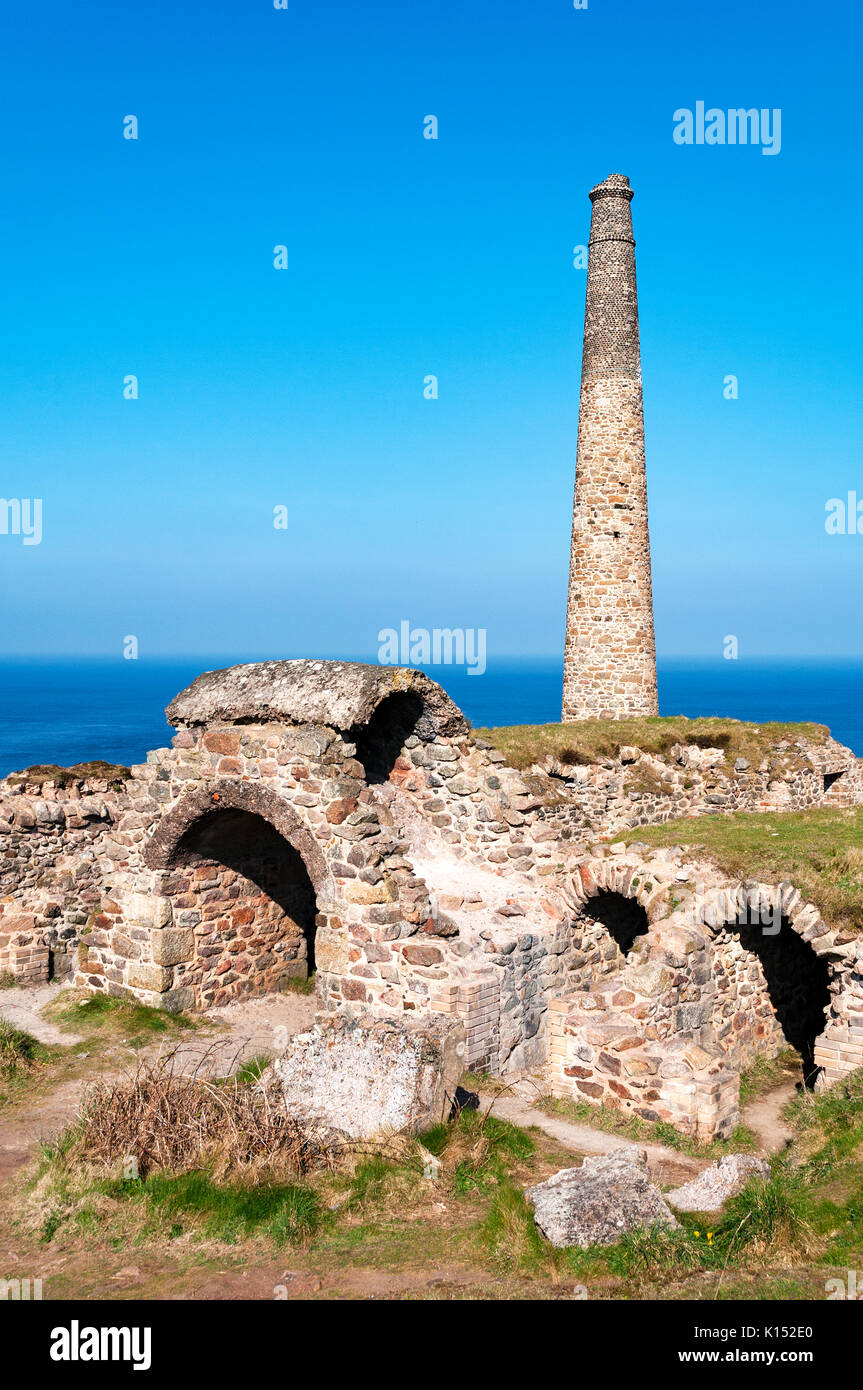 abandoned buildings at the closed down botallack tin mine near pendeen in cornwall, england, britain, uk, now used - Stock Image