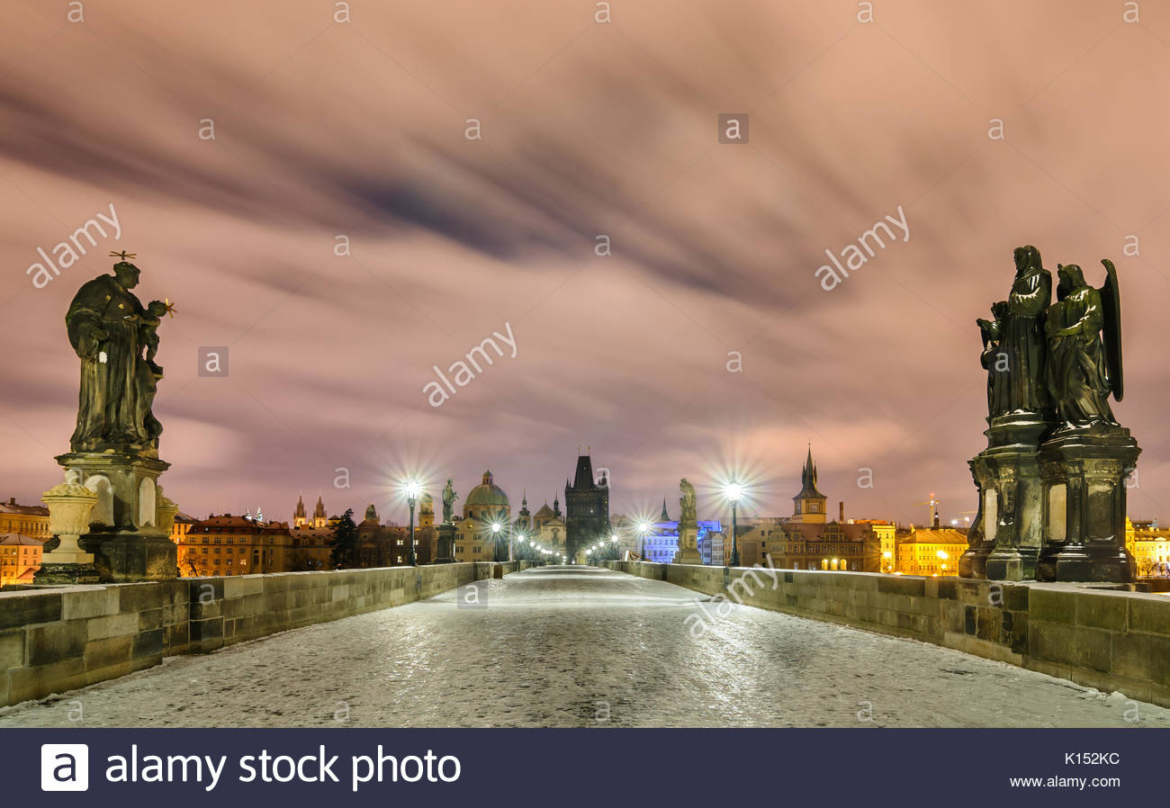 Amazing winter night at Charles bridge, Prague, Czech republic - Stock Image