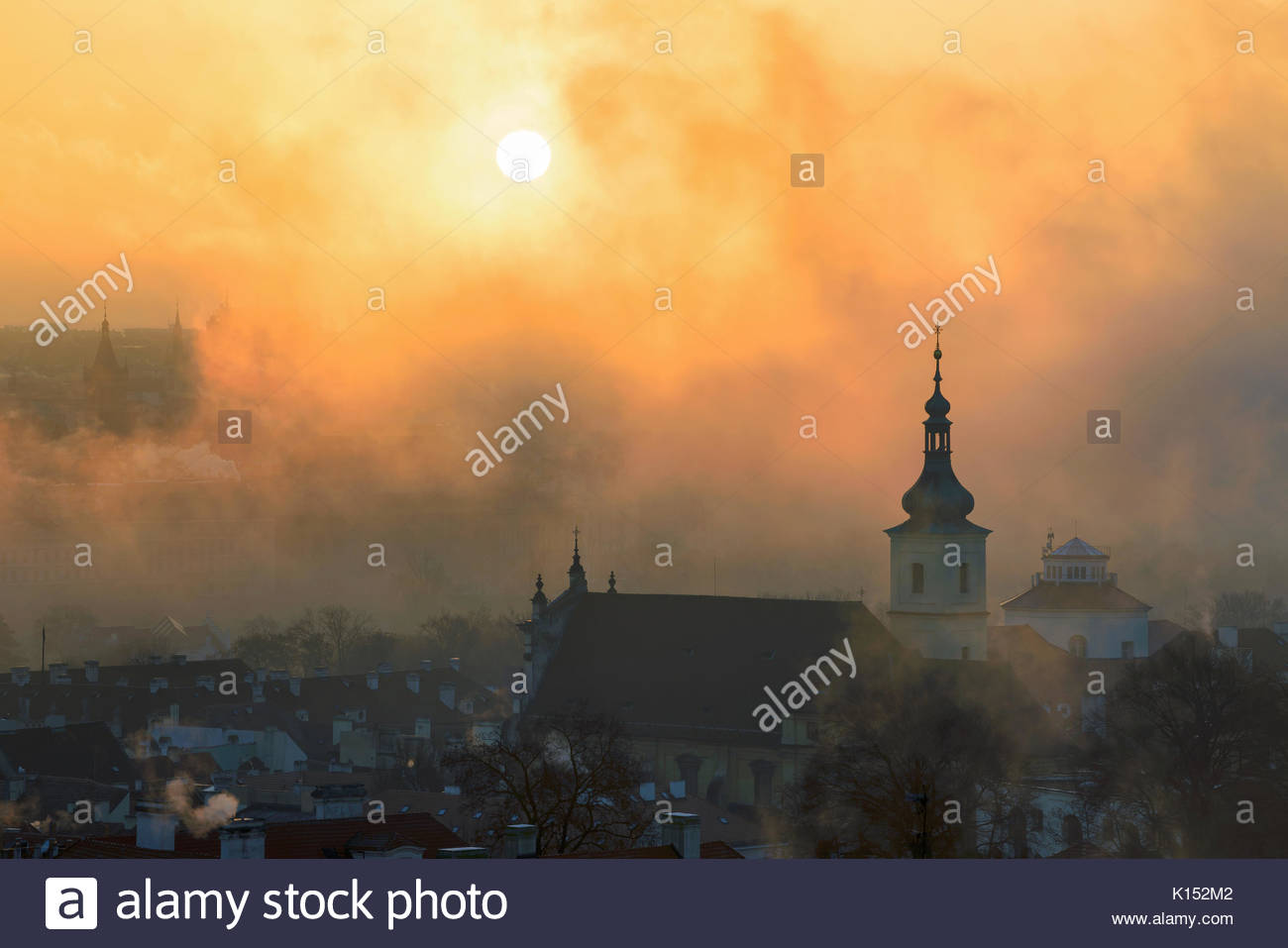 Church of Our Lady Victorious during foggy morning, Prague, Czech republic. - Stock Image