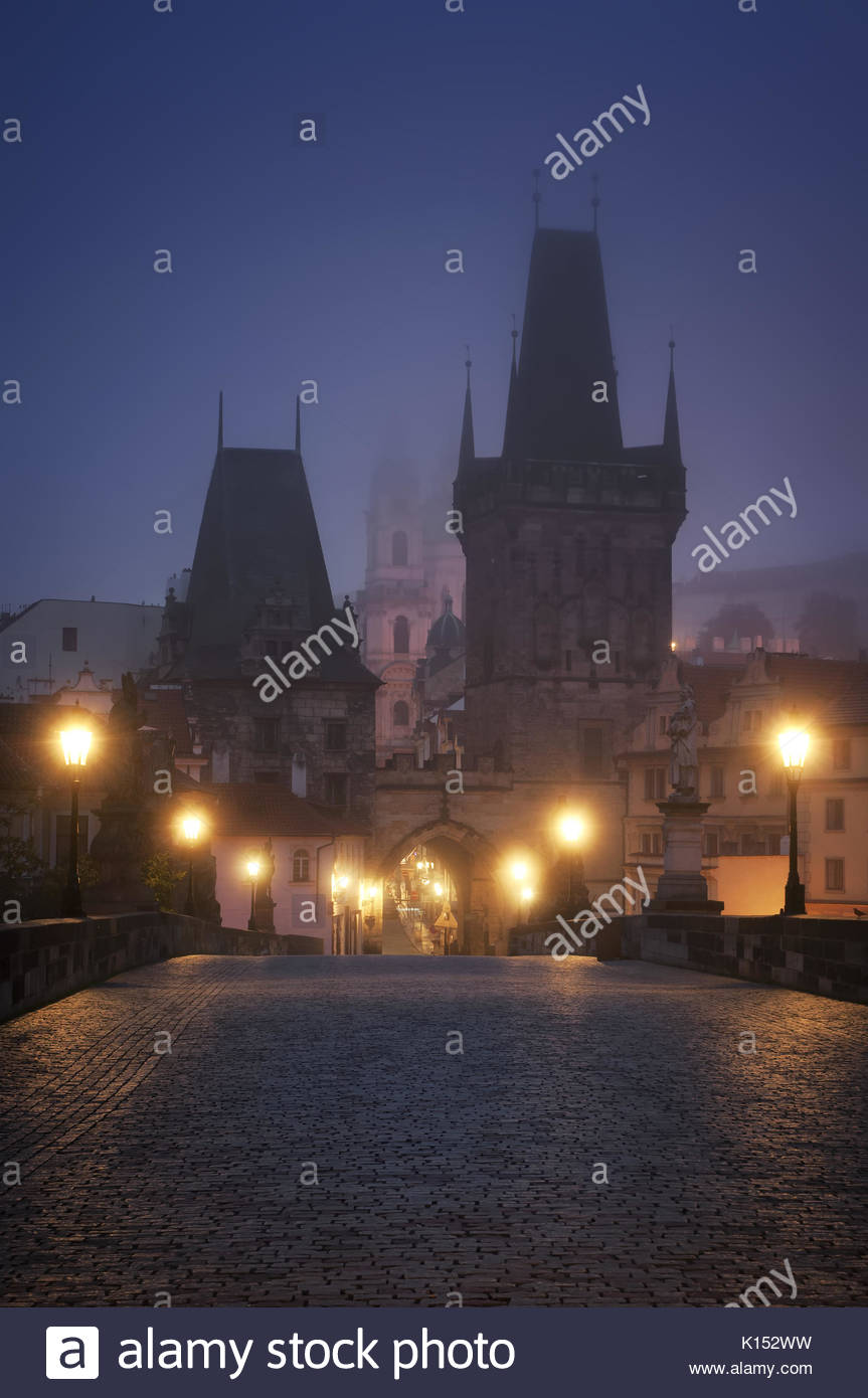 Charles Bridge during sunrise, Prague, Czech republic - Stock Image
