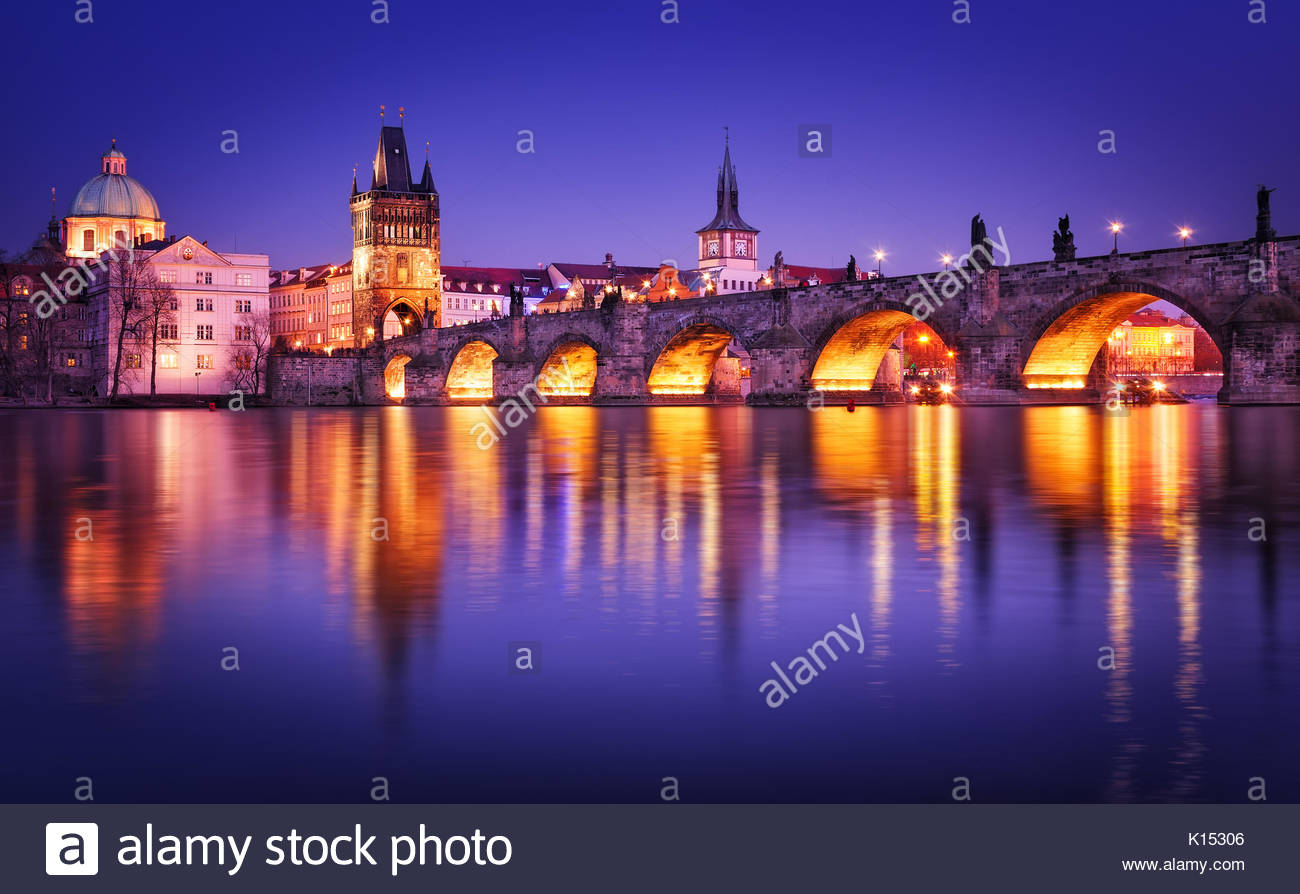 Charles bridge reflection during night, Prague Czech republic - Stock Image
