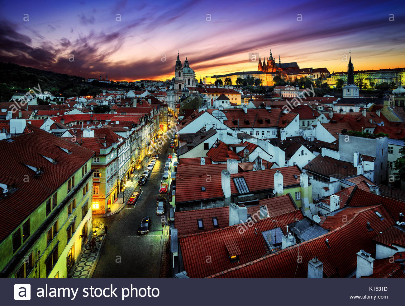 St. Vitus Cathedral and Tower of St Nicholas Church, Prague, Czech republic. - Stock Image