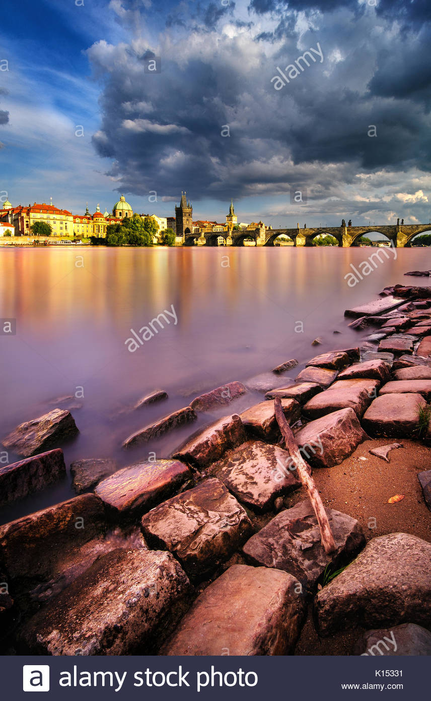 Cloudy summer day near Charles Bridge in Prague, Czech republic - Stock Image