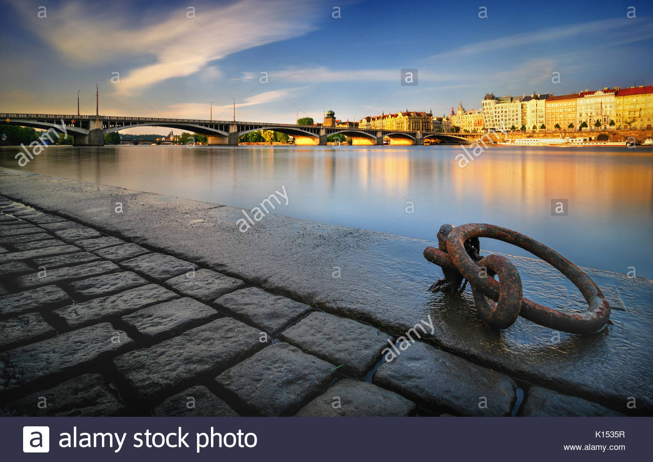 Sunny riverbank near Vltava river, Prague, Czech republic - Stock Image