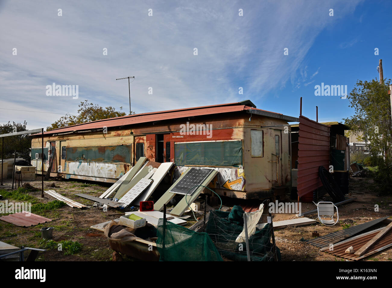 railway carriage being converted to live in in Lightning Ridge, an opal mining twon in outback Australia - Stock Image