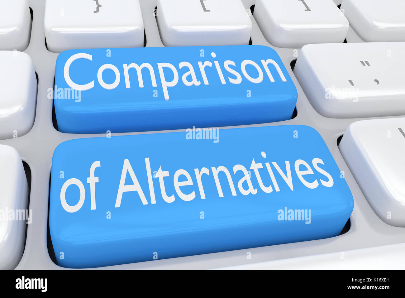 3D illustration of computer keyboard with the script 'Comparison of Alternatives' on two adjacent pale blue - Stock Image