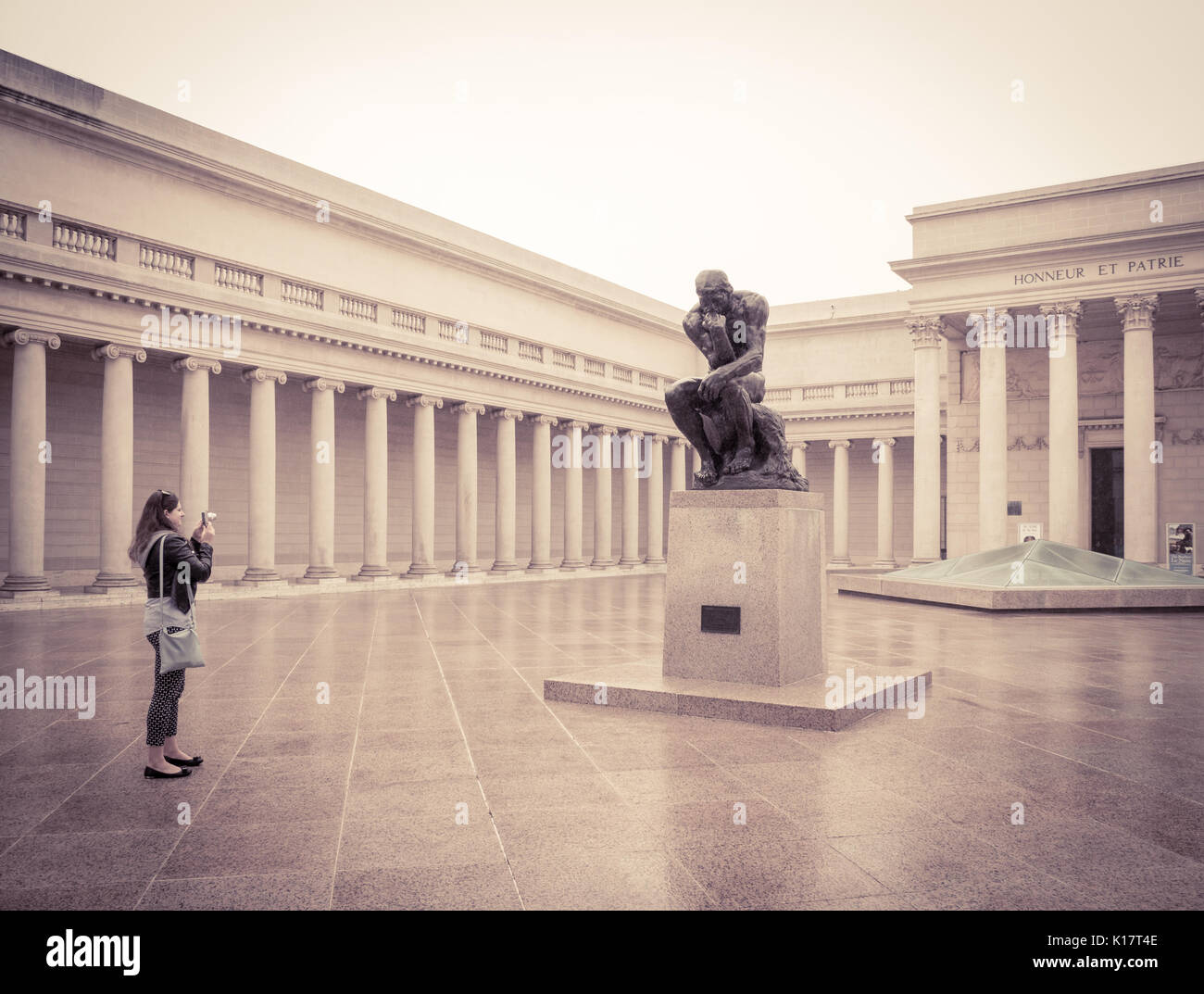The Court of Honor, featuring a cast of the statue The Thinker, by Auguste Rodin at The Legion of Honor fine art - Stock Image