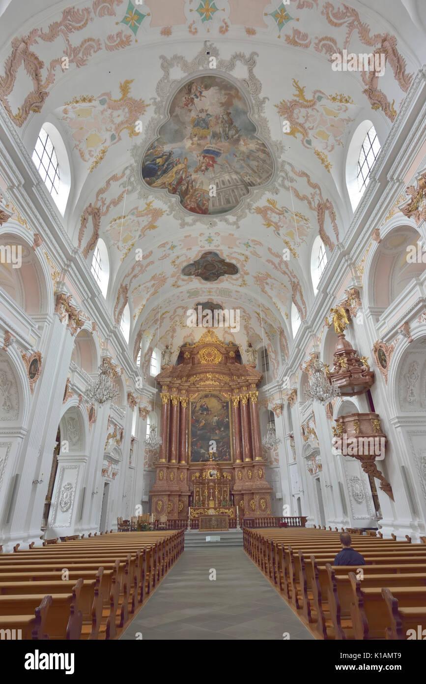 The Lucerne Jesuit  Catholic church in Lucerne, Switzerland - 24 July 2017 - Stock Image
