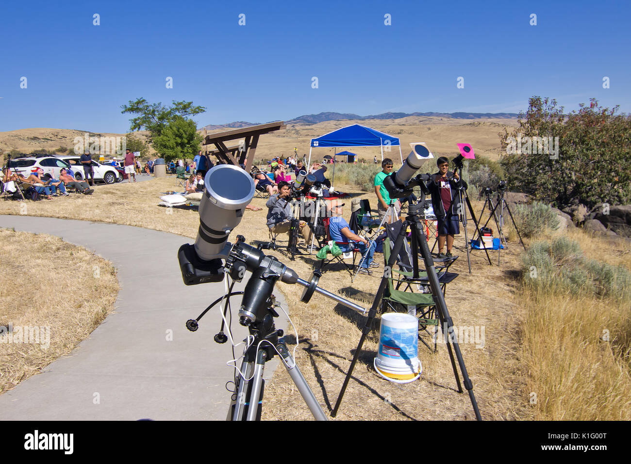 People viewing 2017 United States Solar Eclipse Stock Photo