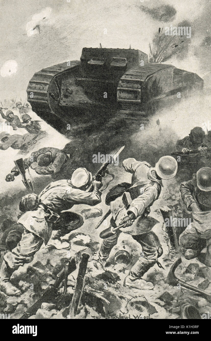 Tank forging through German lines, Battle of the Somme, WW1 - Stock Image