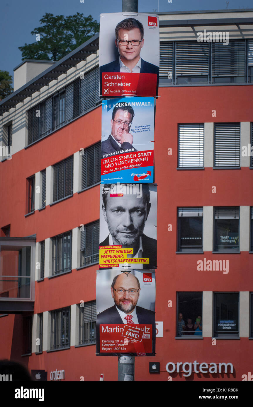 Political parties looking for votes on billboards in Erfurt, Thuringia, Germany - Stock Image