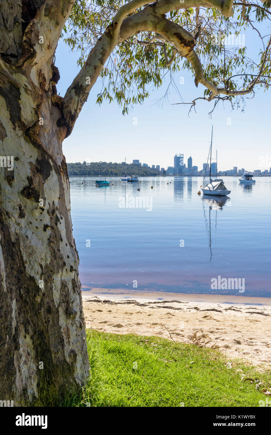 Boats moored in Matilda Bay viewed from the foreshore of the Swan River at Crawley, Perth, Western Australia - Stock Image