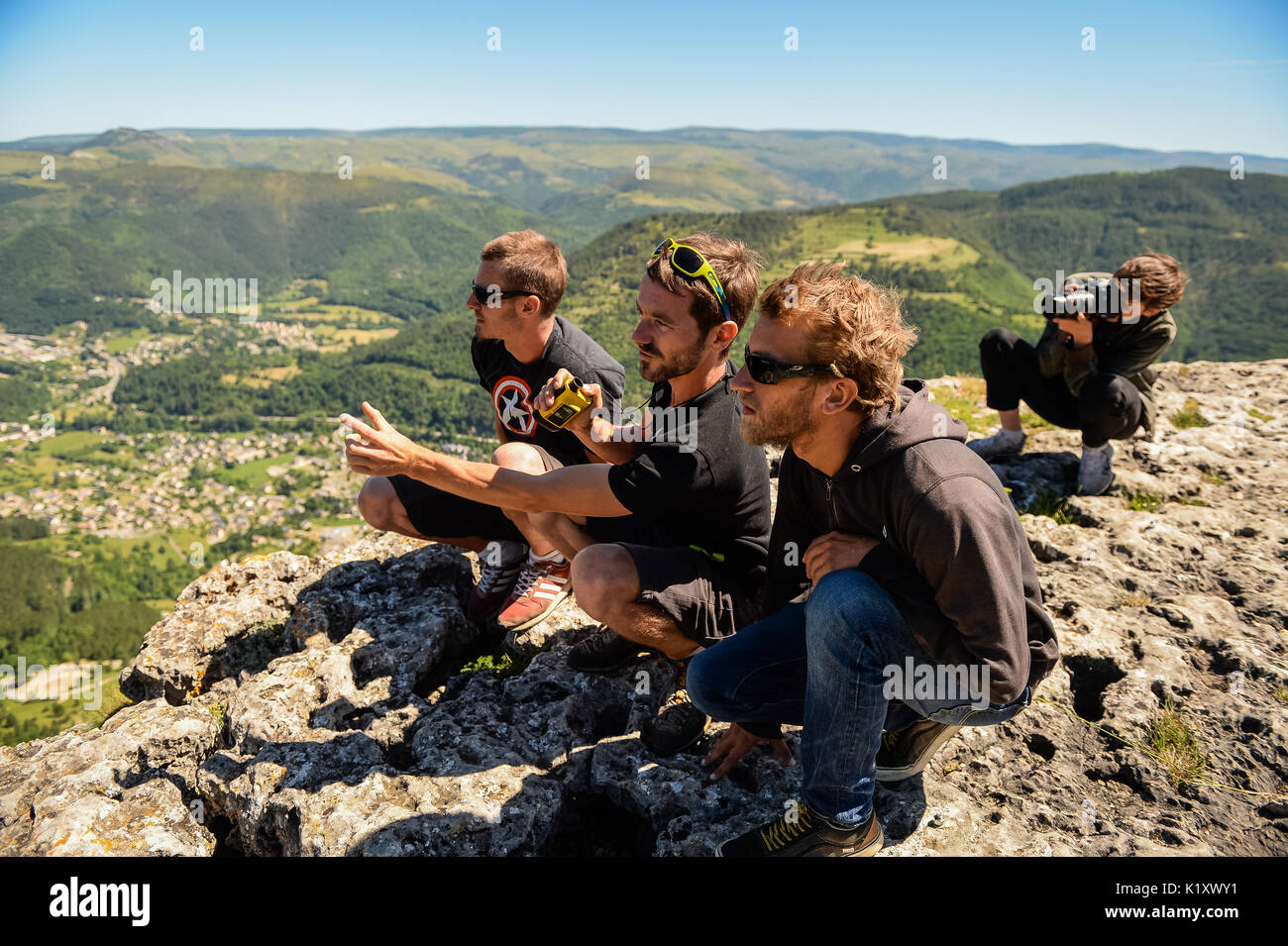 To celebrate 10 years of program on France TV, Riding Zone team (a tv program about extreme sports) shooting into - Stock Image
