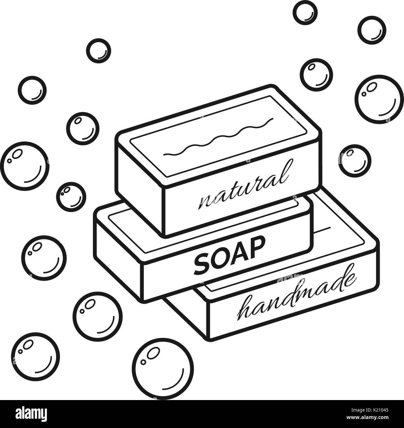 Hand Drawn Soap Logo Template: Cosmetic Vector Logo Design Stock Photos & Cosmetic Vector