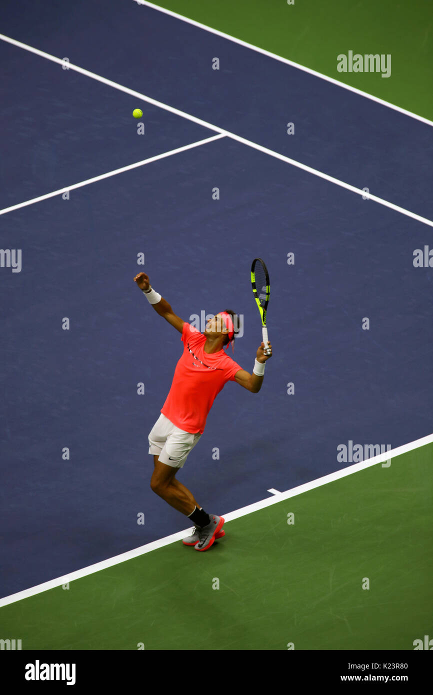 New York, United States. 29th Aug, 2017. US Open Tennis: New York, 29 August, 2017 - Rafael Nadal of Spain serving - Stock Image