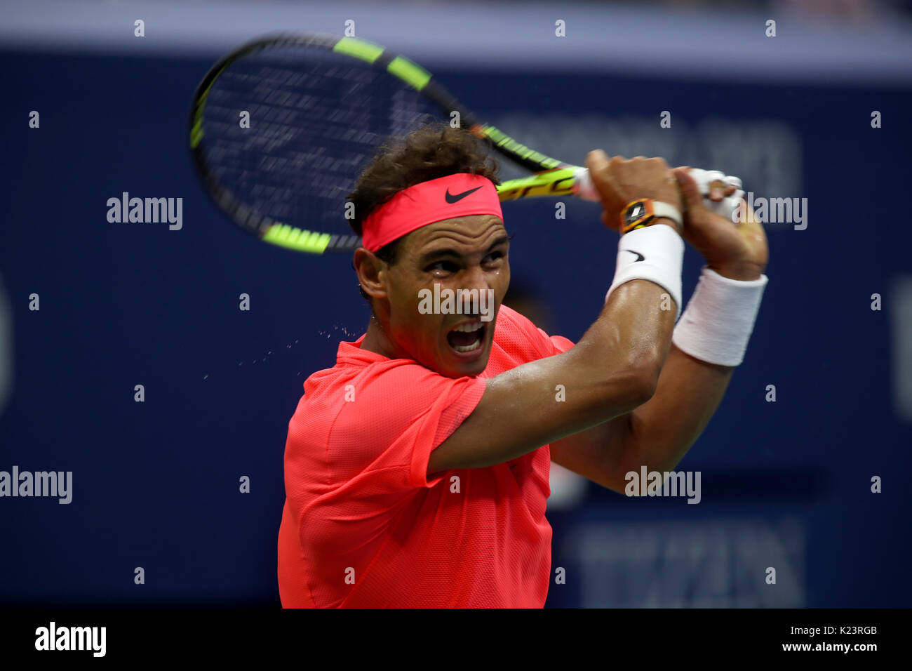 New York, United States. 29th Aug, 2017. US Open Tennis: New York, 29 August, 2017 - Rafael Nadal of Spain in action - Stock Image