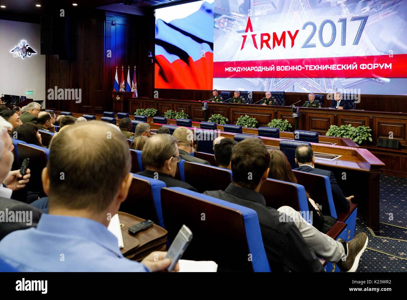 Moscow, Russia. 30th Aug, 2017. Russia's Deputy Defence Ministers Yuri Borisov, Pavel Popov, Alexander Fomin, - Stock Image