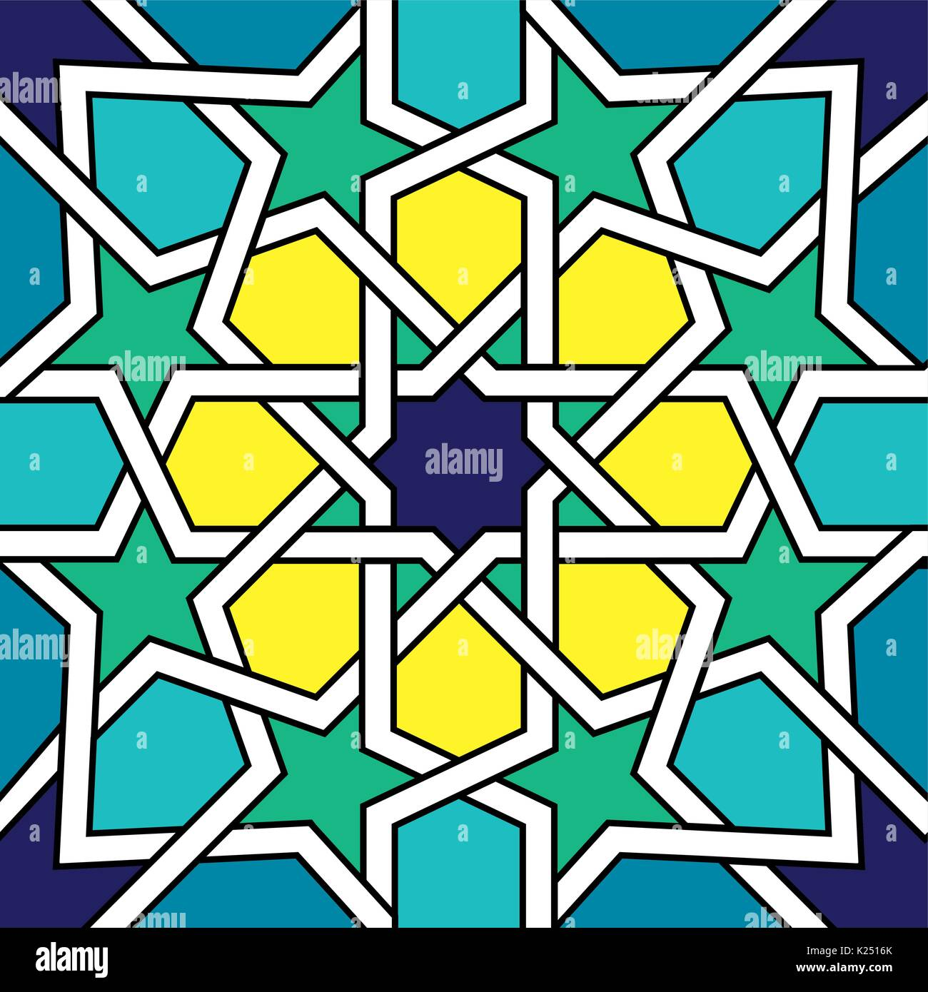 Moroccan Tile Design, Moorish Seamless Vector Pattern